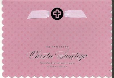 Karnet Chrzest Sw.różowy HM-200-1464