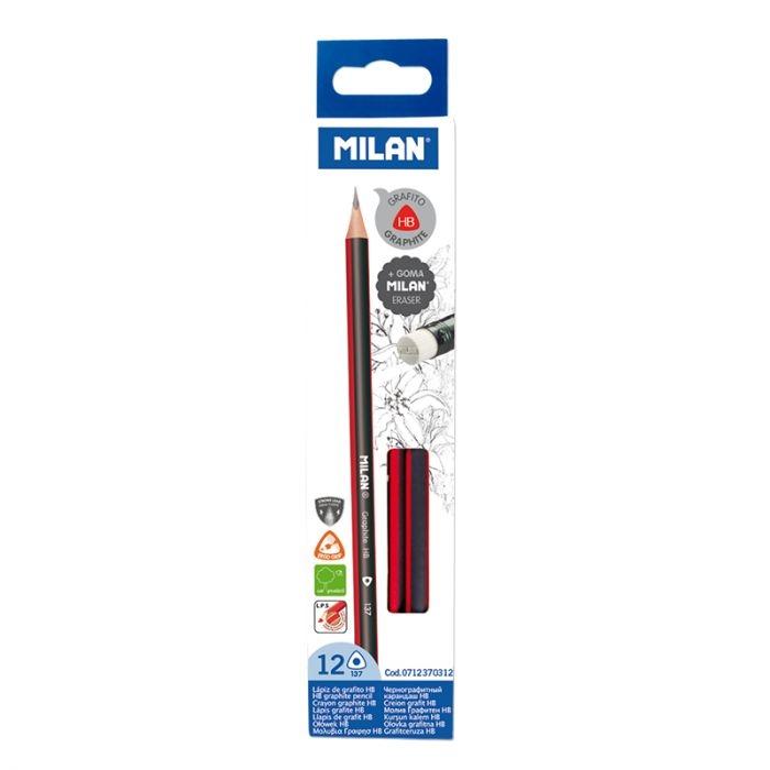 Ołówki Milan trójkątne HB z gumką - 12 sztuk (0712370312)