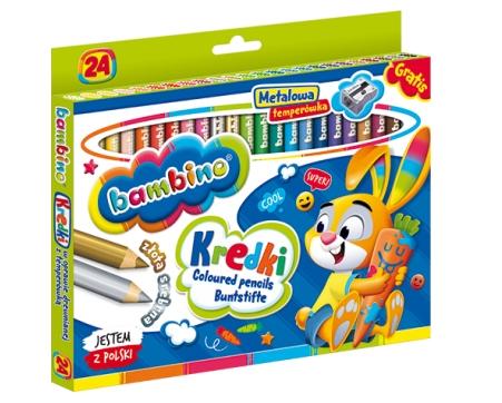 Kredki Bambino drewniane, 24 kolory z temperówką (STM-00447)