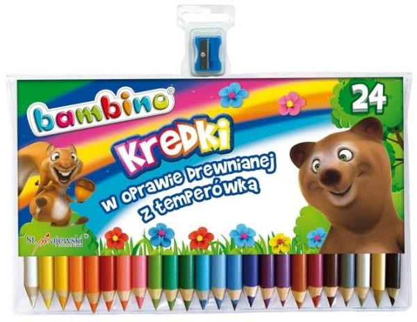 Kredki Bambino drewniane 24 kolory z temperówką