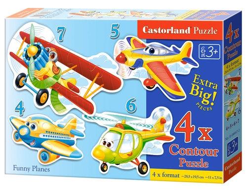 Puzzle konturowe 4w1 Funny-Planes (04447)
