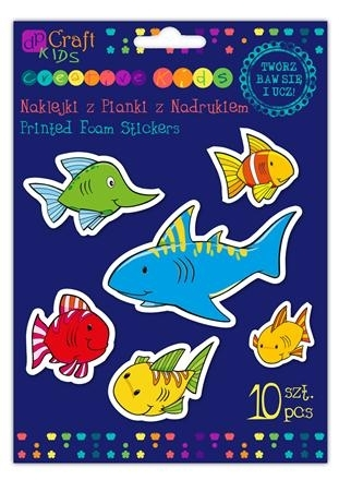 Naklejki z pianki z nadrukiem 10 szt. Ryby