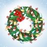 Karnet Swarovski kwadrat Święta Wieniec zielony