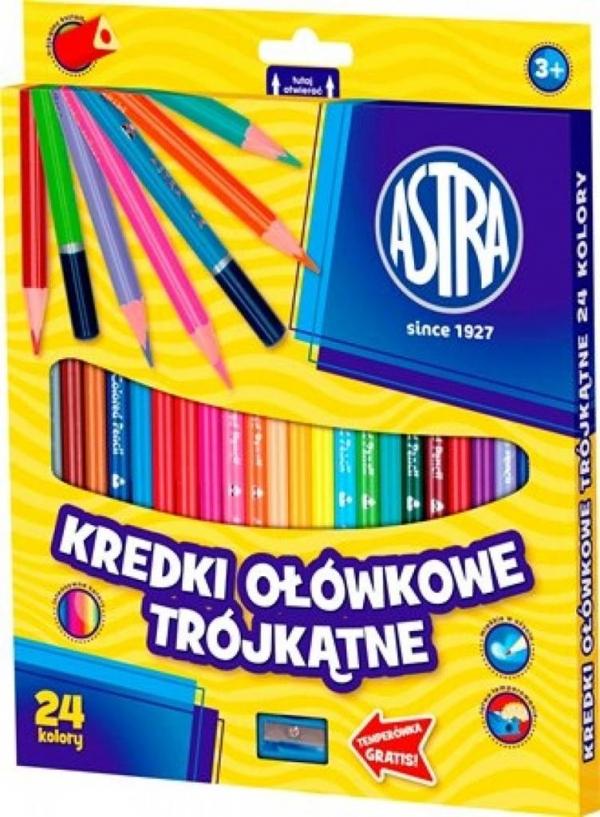 Kredki ołówkowe trójkątne 24 kolory ASTRA