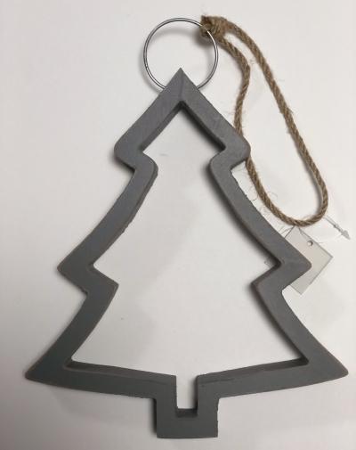 Zawieszka świąteczna drewniana szara choinka 23cm