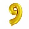 Balon Cyfra nr 9 złoty 45,5CM