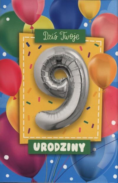 Karnet z balonem 9 Urodzinki K.BALLOON-9 K-1175
