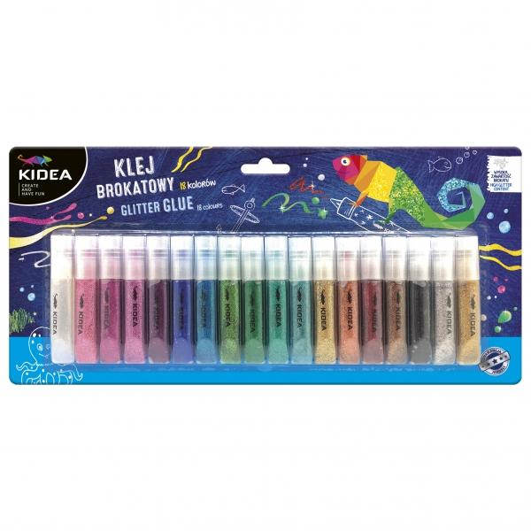 Klej brokatowy, zestaw 18 kolorów Kidea (DRF-079452)