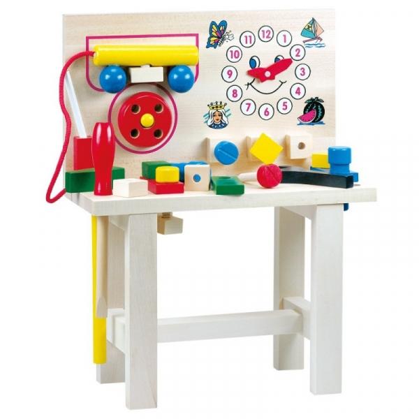 Drewniany duży stół z narzędziami (82145)
