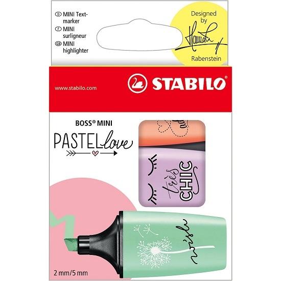 Zakreślacze Stabilo Boss mini PastelLove, 3 kolory