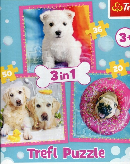 Puzzle 3w1 Pieski w kąpieli