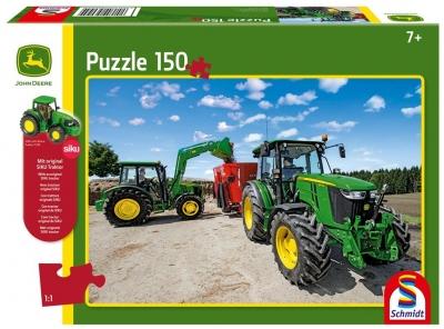 Puzzle 150: John Deere - Traktory 5M + zabawka