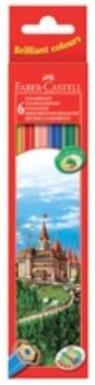 Kredki drewniane szesciokątne -  6 kolorów Zamek