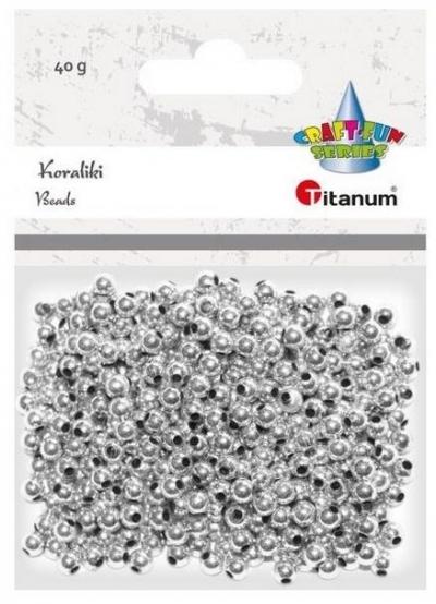 Koraliki Titanum, plastikowe - srebrne (390726)