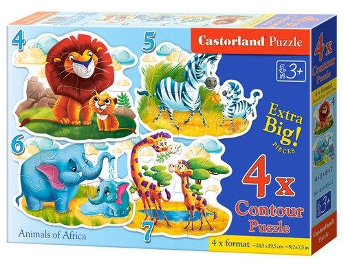 Puzzle 4 w 1: Zwierzęta Afryki (B-04454)