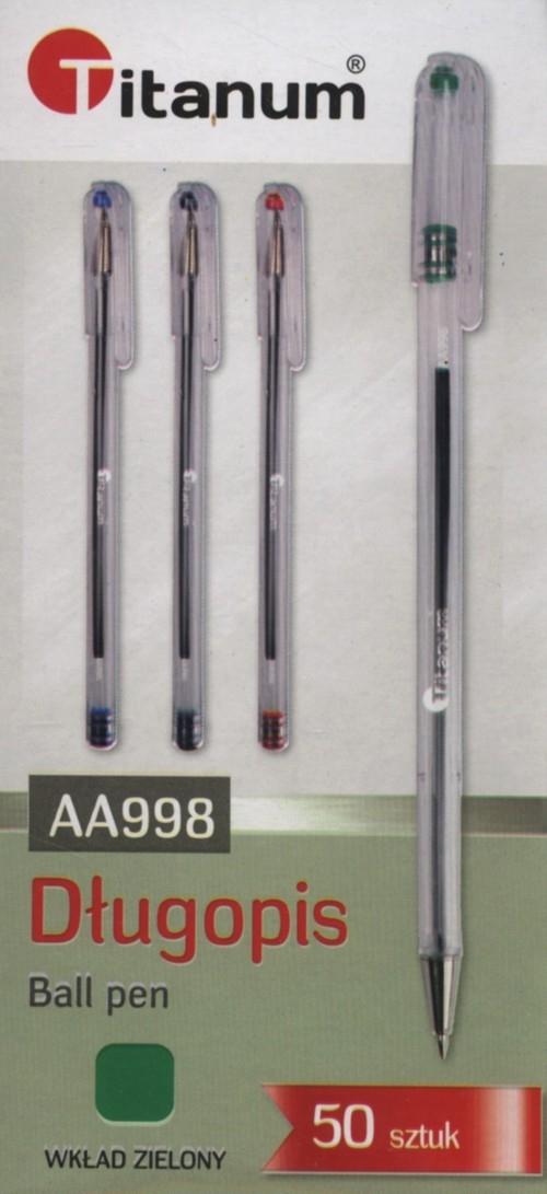 Długopis Titanum AA998 zielony 50 sztuk