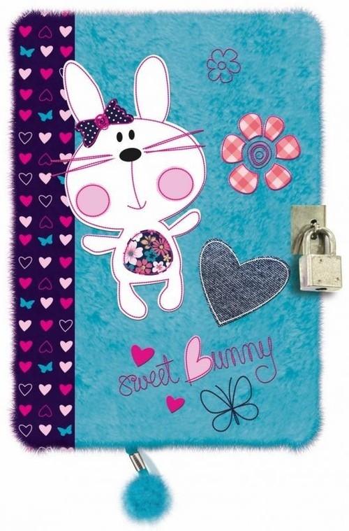 Pamiętnik z kłódką pluszak, 96 kartek Sweet Bunny Blue
