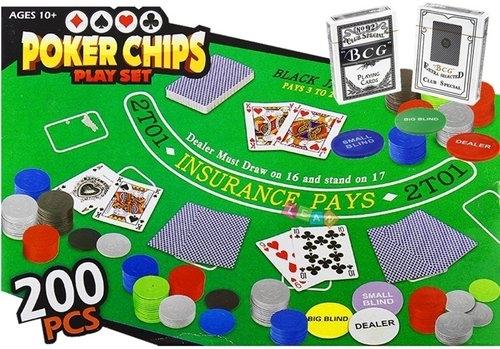 Zestaw do gry w Pokera Mata 200pcs karty żetony