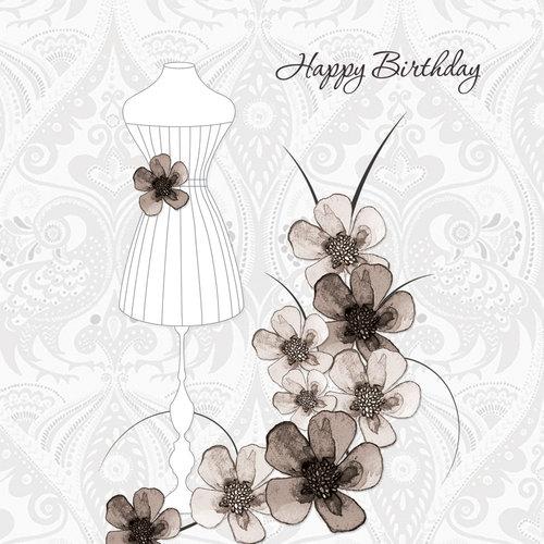 Karnet Swarovski kwadrat Urodziny sukienka