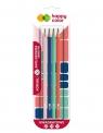 Ołówek kwadratowy HB Trendy - 4 szt. (HA3140 01TR BK4)