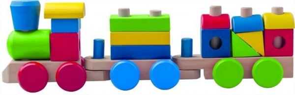 Pociąg z klocków drewnianych 20 elementów (91846)