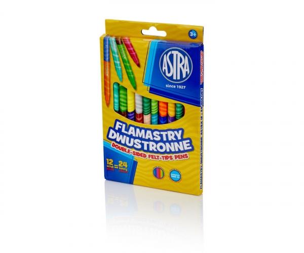 Flamastry Astra dwustronne, 12 sztuk = 24 kolory (314118001)