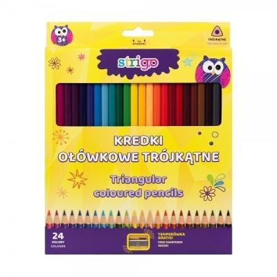 Kredki ołówkowe trójkątne - 24 kolory STRIGO