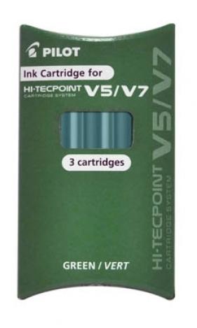 Naboje do cienkopisu Pilot V5 Hi-Tecpoint Cardige System 3 szt. zielone