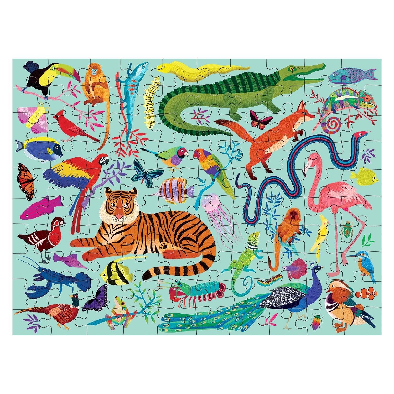 Janod, Puzzle dwustronne 100: Królestwo zwierząt (MP60464)