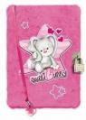 Pamiętnik z kłódką włochacz 96 kartek Sweet Bunny Pink