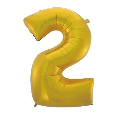 Balon foliowy Godan złoty matowy cyfra 2 45 cali 45cal (hs-c45zm2)