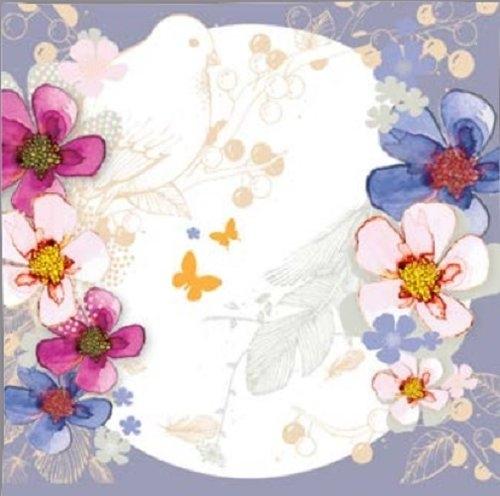 Karnet Swarovski kwadrat Kwiaty jasnoniebieski