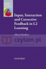 Input, Interaction & Corrective Feedback in L2 Learning