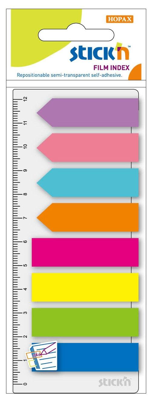 Zakładki indeksujące 8 kolorów neon x 25 sztuk (paski+strzałki) + linijka