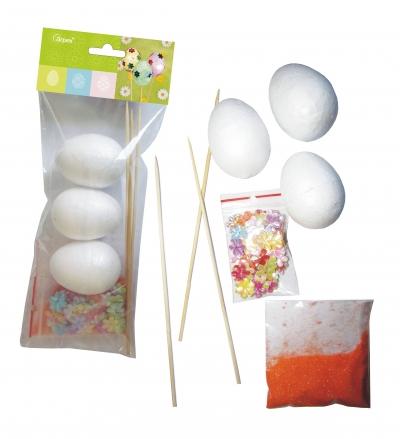 Zestaw dekoracji kreatywnych na piku II, jajka x3, elementy do zdobienia (WN6102) .