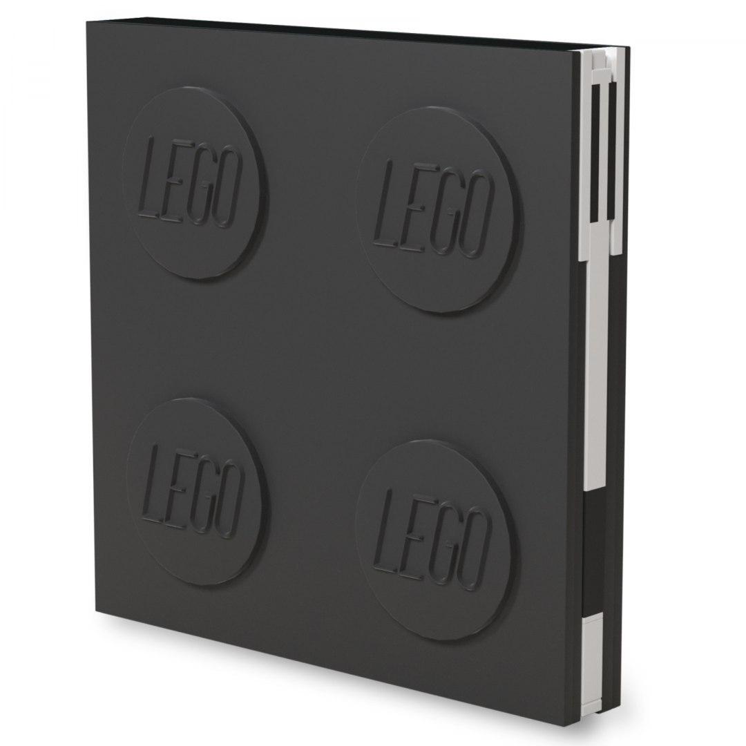 Kwadratowy notatnik LEGO® z długopisem (Czarny) (52447)