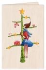 Karnet drewniany C6 + koperta Święta Kobieta na choince