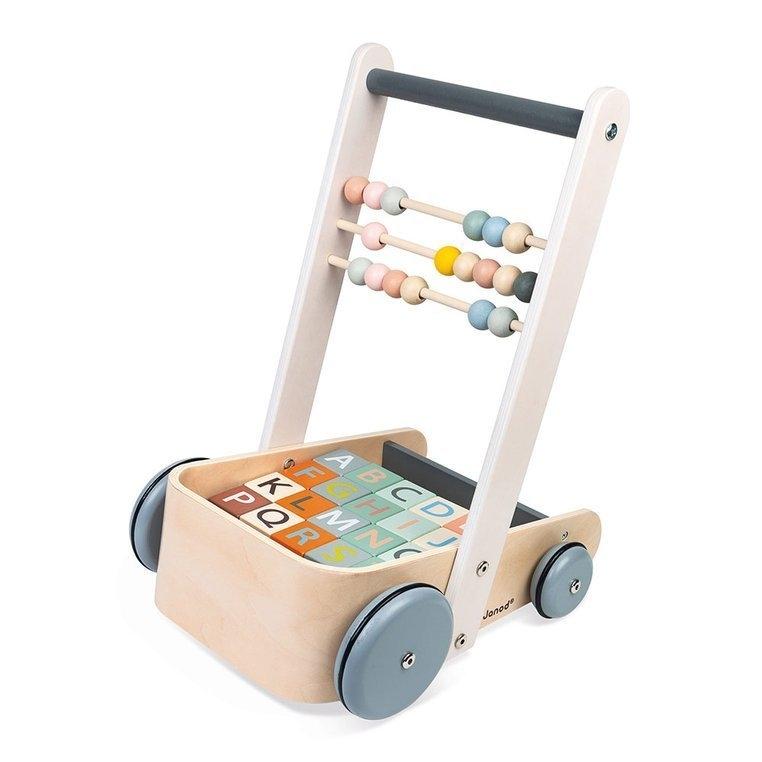 Wózek pchacz drewniany z 20 klockami Sweet Cocoon (J04408)