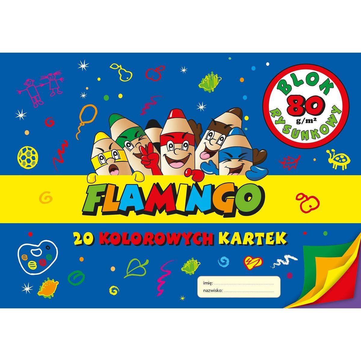 Blok rysunkowy  Flamingo A4/20k - kolor (301009)
