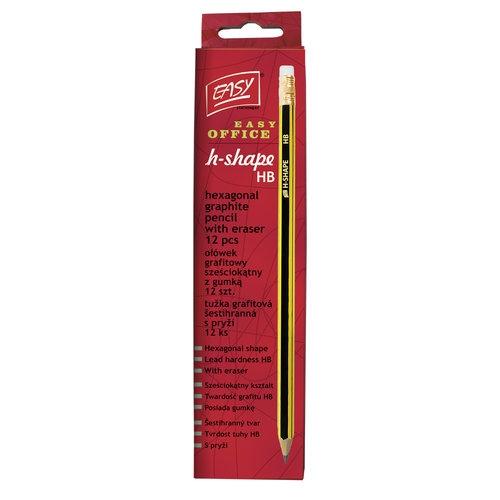 Ołówek z gumką 12 sztuk H-Shape