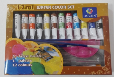 Farby akwarelowe 12kol +pędzle