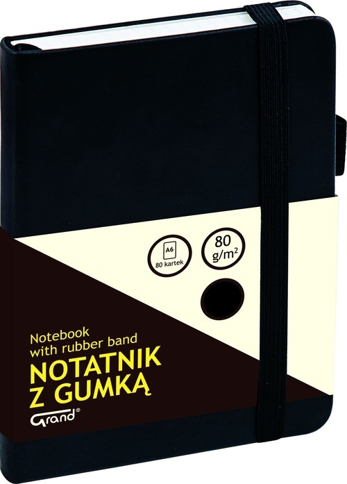 Notatnik A6 Grand z gumką 80 kartek czarny