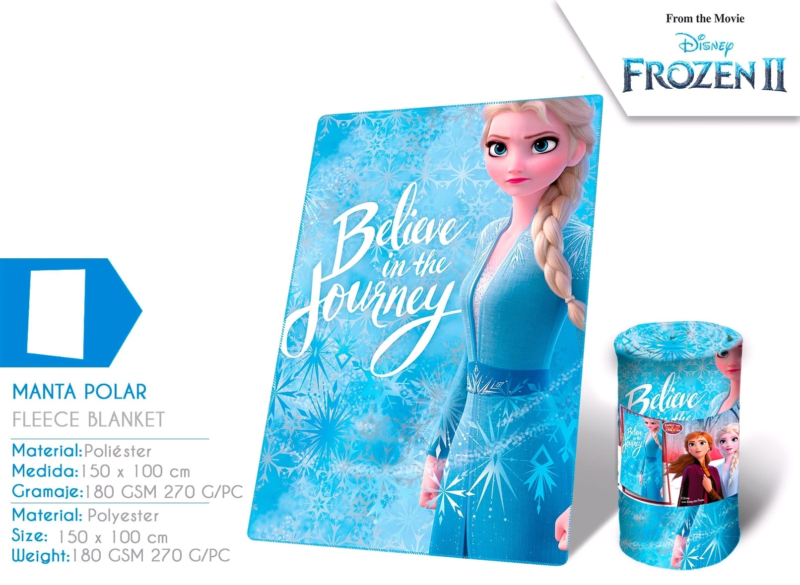 Frozen 2, koc polarowy, 150x100 cm (WD21401)