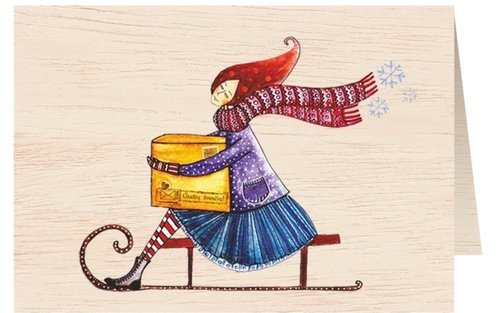 Karnet drewniany C6 + koperta Święta Kobieta na sankach