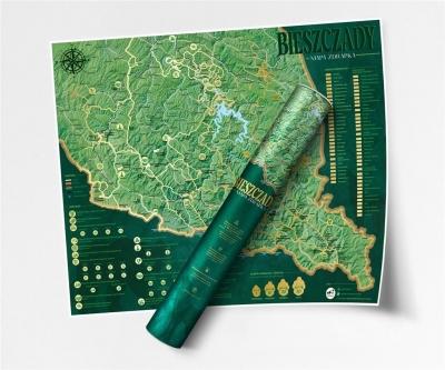 Mapa zdrapka - Szlaków Bieszczady