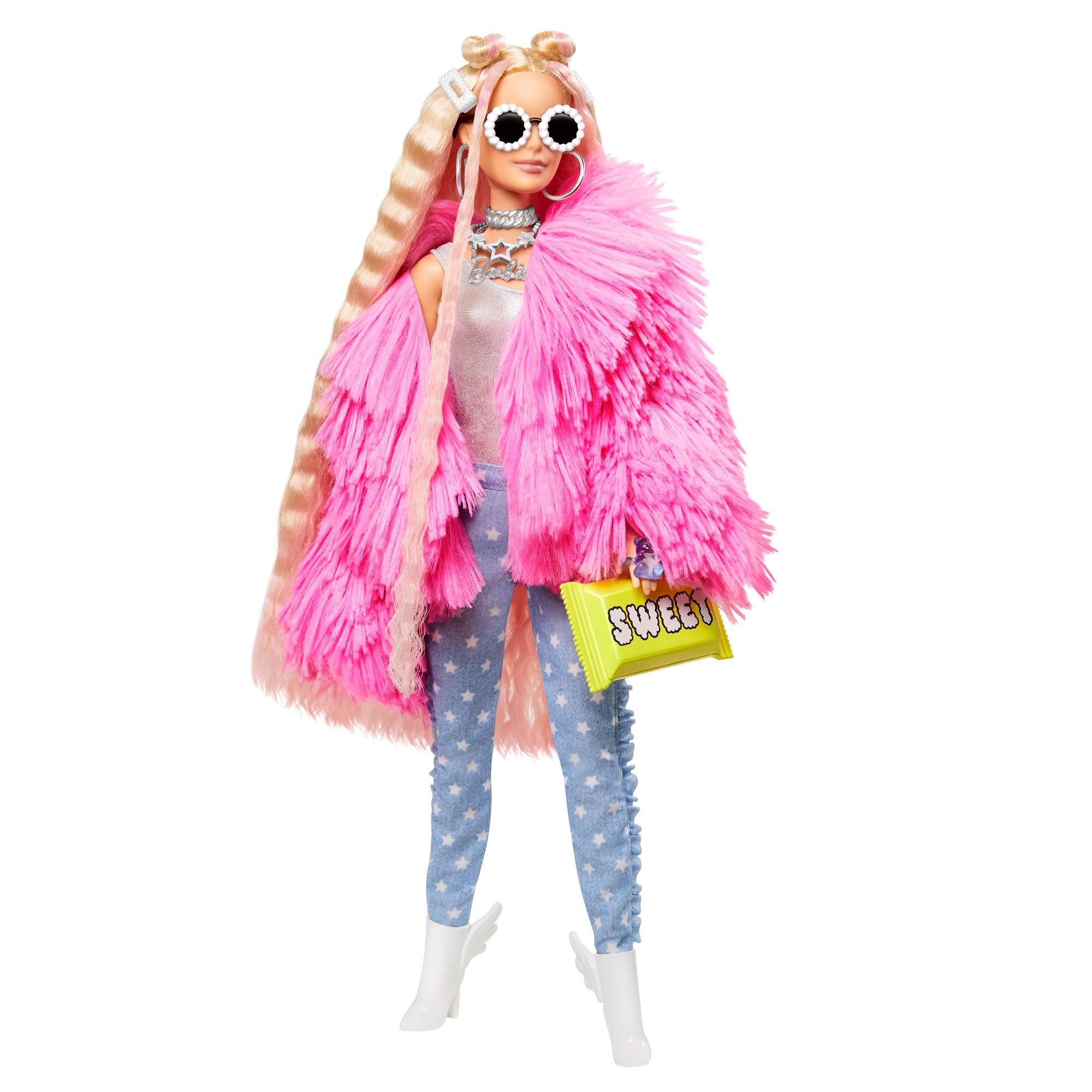 Barbie Extra: Modna lalka z różową puchata kurtką (GRN27/GRN28)