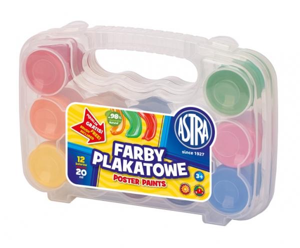 Farby plakatowe Astra, 12 kolorów 20 ml - walizka (301117002)