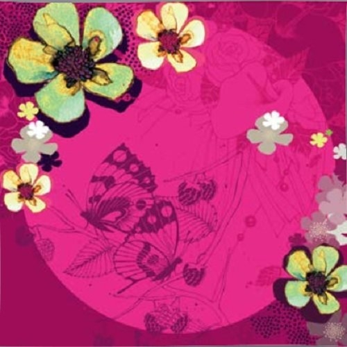 Karnet Swarovski kwadrat Kwiaty fuksja