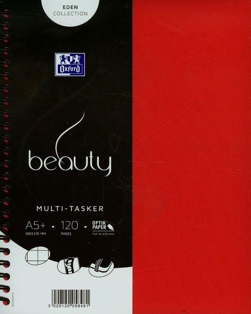 Kołonotatnik A5 Oxford beauty Multi tasker w kratkę 120 kartek czerwony