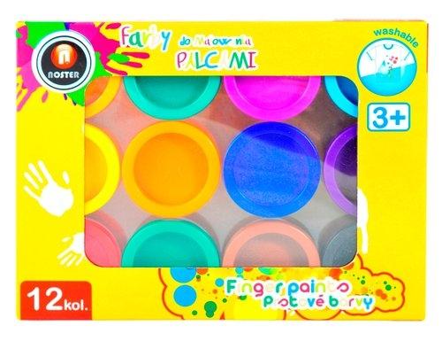 Farby do malowania palcami 12 kolorów box